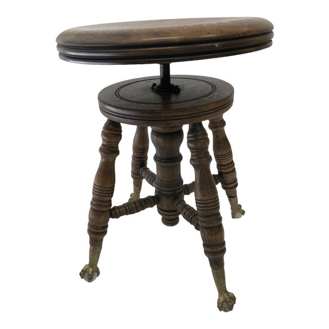 Antique Swivel Wood Piano Stool With Ball & Claw Feet For Sale