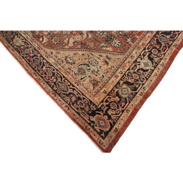 Early 20th Century Antique Persian Mahal Rug-8′9″ × 10′5″ For Sale - Image 9 of 11