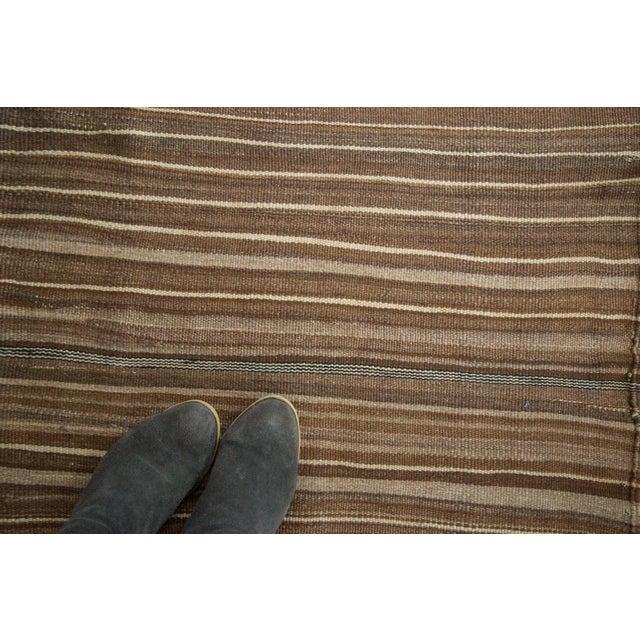 Vintage Moroccan Brown Stripe Kilim Rug - 5' X 7' For Sale - Image 7 of 7