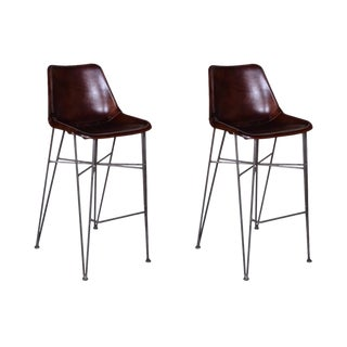 Mason Leather Bar Chairs - A Pair For Sale