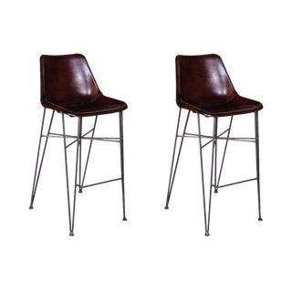 Mason Leather Bar Chairs - A Pair