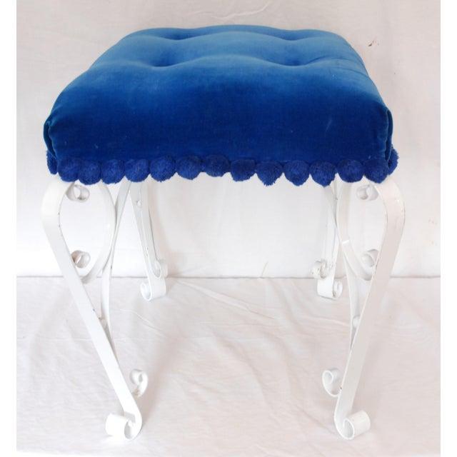 Mid-Century Blue Velvet & Wrought Iron Vanity Stool - Image 4 of 4