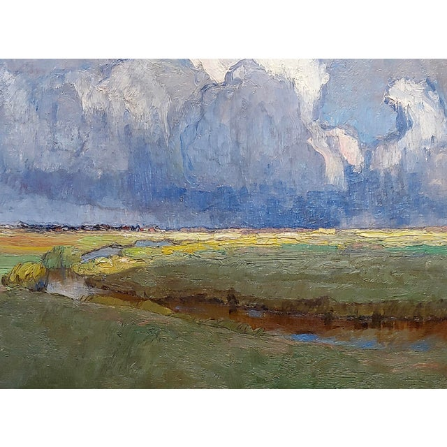 """Art Nouveau Richard Kaiser """"River Running Through a Countryside Landscape"""" Oil Painting, 19th Century For Sale - Image 3 of 12"""