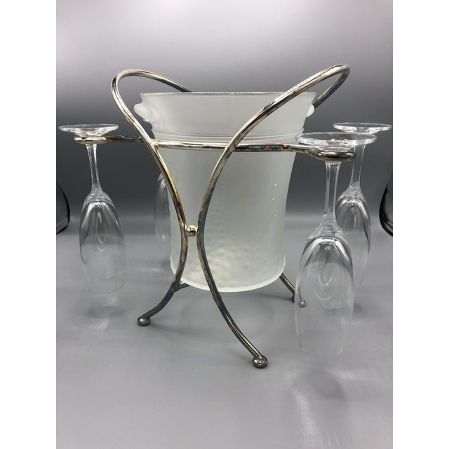 Mid-Century Glass & Chrome Caddy Ice Bucket With Champagne Glasses - 5 Pc. Set For Sale In New York - Image 6 of 9