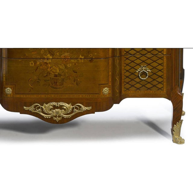 French French Parquetry and Marquetry Ormolu-Mounted Commode, 19th Century For Sale - Image 3 of 4