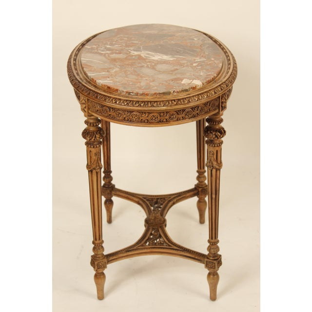 Louis XVI 1930s Louis XVI Carved Marble Top Table For Sale - Image 3 of 13