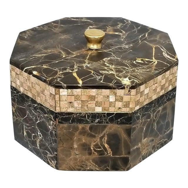 Vintage Maitland Smith Tessellated Italian Portoro Marble Box - Mid Century Modern Palm Beach Boho Chic Jewelry For Sale