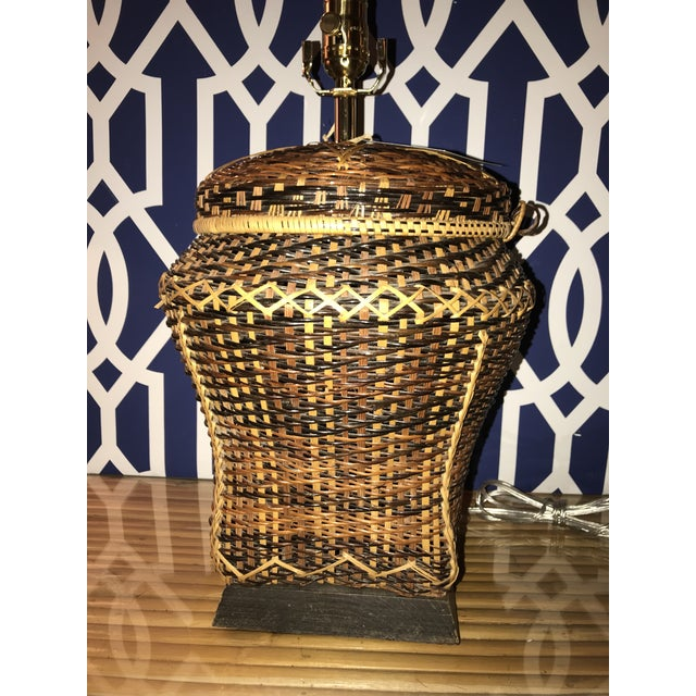 Vintage Rattan Table Lamp For Sale In West Palm - Image 6 of 8