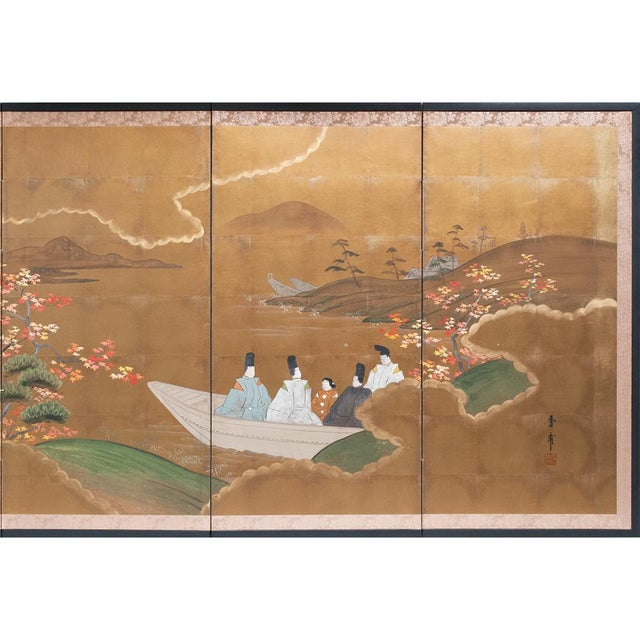 Asian 1920s Japanese Four Panel Byobu Screen For Sale - Image 3 of 13