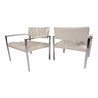Pair of Chrome Lounge Chairs by Erwin-Lambeth in the Style of Harvey Probber For Sale