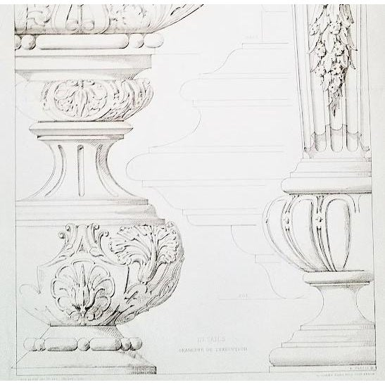 French French Architectural Lithograph-Furniture Design 1880s For Sale - Image 3 of 4