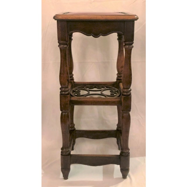 Antique French Country Oak and Iron Tavern Bar Stool With Leather Seat, Circa 1890-1910. For Sale In New Orleans - Image 6 of 6