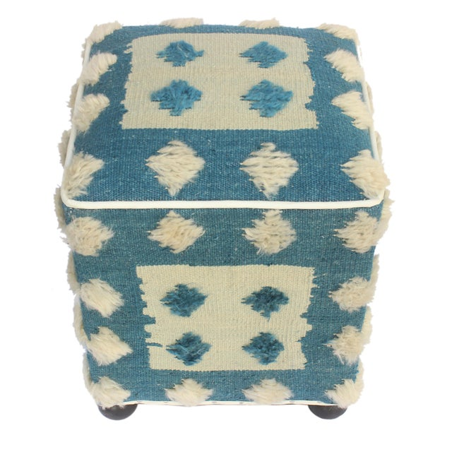 Modern Moroccan Blue & Tan Wool Upholstered Handmade Ottoman For Sale In New York - Image 6 of 7