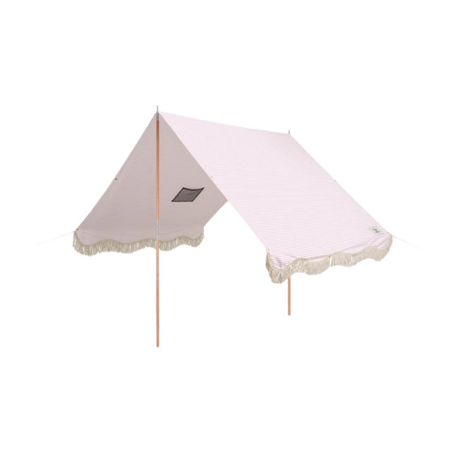 Premium Beach Tent - Lauren's Pink Stripe With Fringe For Sale