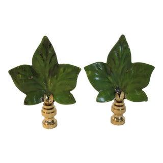 Large Green Enamel Italian Tole Leaf Finials by C. Damien Fox For Sale