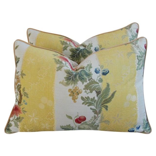 "26"" X 18"" Designer Scalamandre Silk Lampas Feather/Down Pillows - Pair - Image 1 of 10"