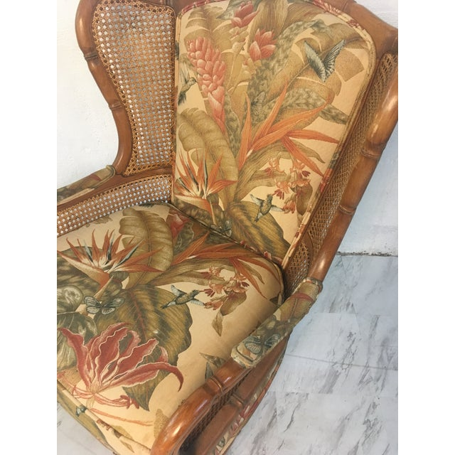 Coastal Vintage Cane Wingback For Sale - Image 3 of 9