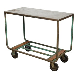 Early 20th C. Steet and Wood Factory Rolling Cart C.1940 For Sale