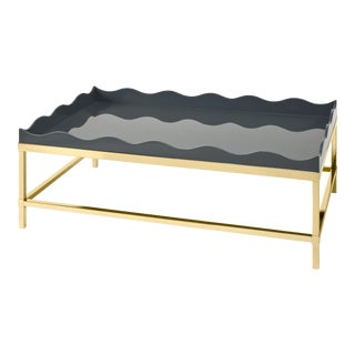 Rita Konig Collection Belles Rives Coffee Table Brass in Elephant Grey For Sale