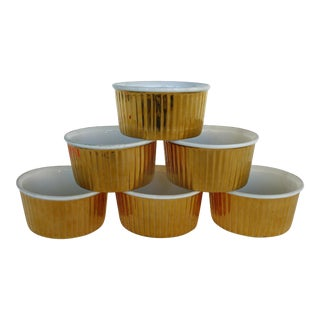 Royal Worcester Oven Proof Fluted Gold Luster Custard Ramkins Soufflé Dishes-Set of 6 For Sale