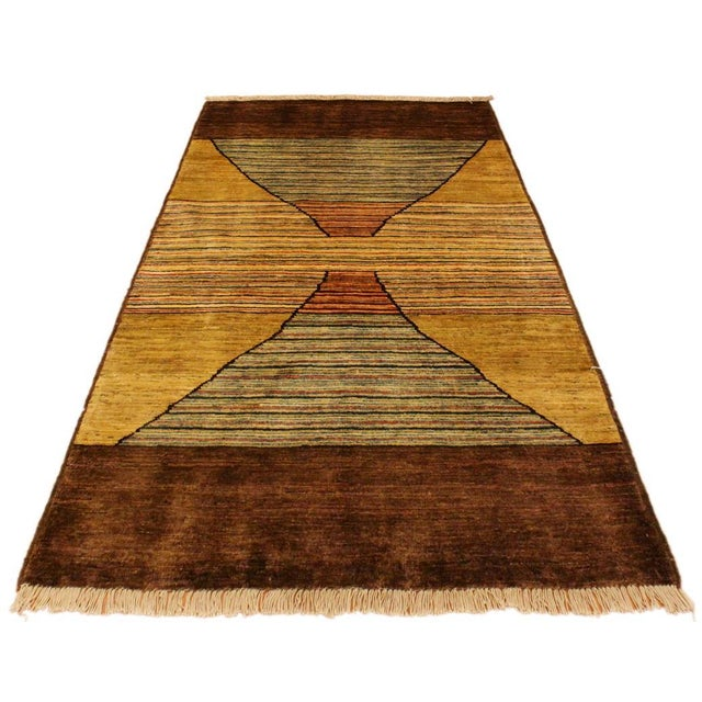 Asian Gabbeh Peshawar Valentin Brown/Gold Hand-Knotted Wool Rug -3'0 X 4'8 For Sale - Image 3 of 8