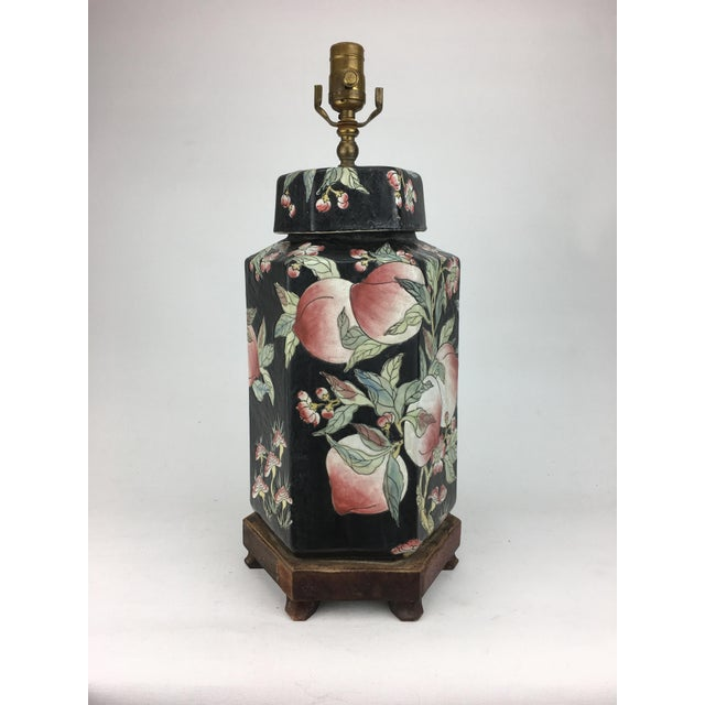 Ceramic 1970s Chinese Hexagonal Vase Lamp With Longevity Peaches For Sale - Image 7 of 7