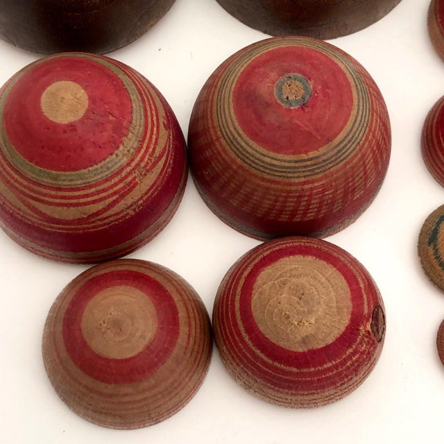 Vintage Mid-Century Japanese Hand-Painted Wooden Nesting Eggs - Set of 7 For Sale - Image 11 of 13