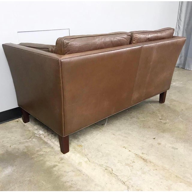 Danish Modern Leather Loveseat in the Style of Børge Mogensen For Sale - Image 9 of 12