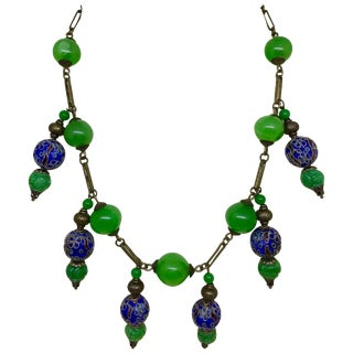 Vintage Green Glass Bead, Cloisonne and Brass Chain Necklace For Sale