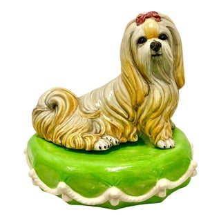 Italian Dog on Pillow With Tassels For Sale