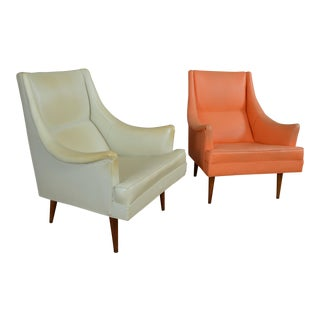 Milo Baughman for James Inc. Mid Century Lounge Chairs - a Pair