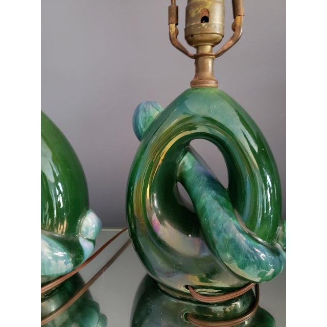 1960s Vintage Royal Haeger Teal Drip Glaze Pottery Lamps - Set of 3 For Sale - Image 10 of 13