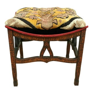 Vintage Thebes Stool, Carved Base, Woven Cushion For Sale