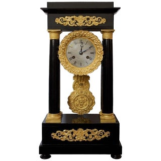 Early 19th Century Antique Ormolu and Ebonized Wood Empire Portico Clock For Sale