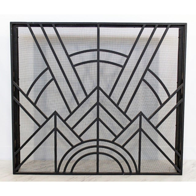 1960s Neo Art Deco Wrought Iron Metal Fireplace Screen For Sale - Image 5 of 5