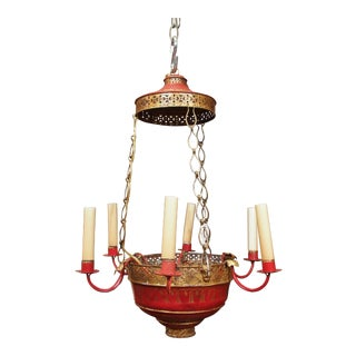 Vintage French Red Tole Chandelier For Sale