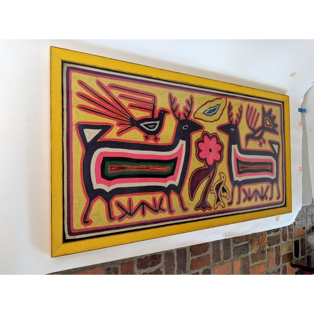 Large Framed Mola Hand Made Textile Animal Motif Wall Art For Sale - Image 9 of 13