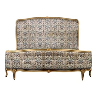 1940s Louis XV Style Carved and Upholstered Bed For Sale