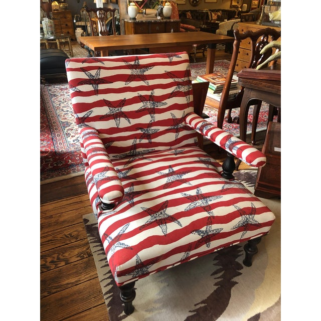 Red White and Blue Upholstered Club Chairs- a Pair For Sale - Image 10 of 13