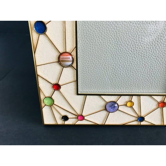 2010s Shagreen With Multi-Color Stones Photo Frame by Fabio Ltd For Sale - Image 5 of 9