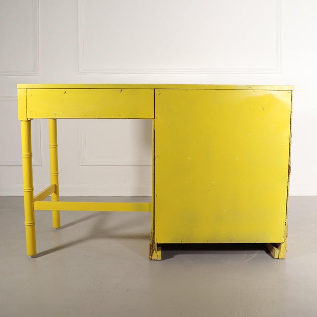 Metal Lacquered Bright Yellow Campaign Desk For Sale - Image 7 of 10