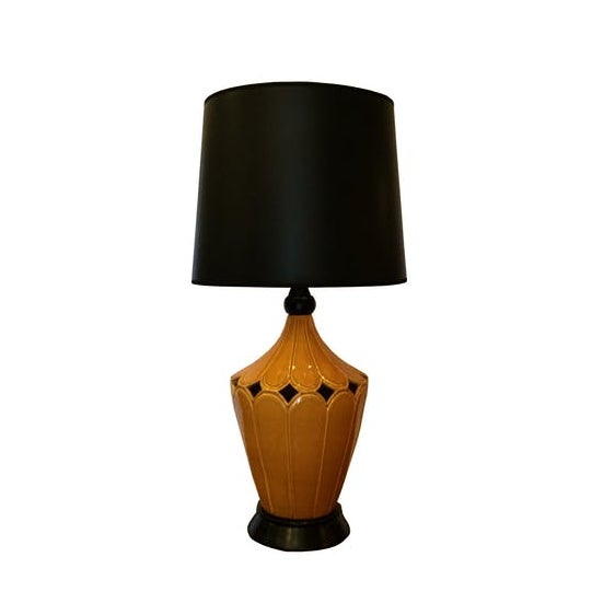 Metal Vintage Mustard Ceramic Lamp For Sale - Image 7 of 7