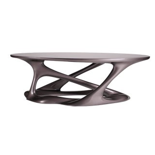 Amorph Dark Gray Metallic Finish Oval Organic Leg Coffee Table For Sale