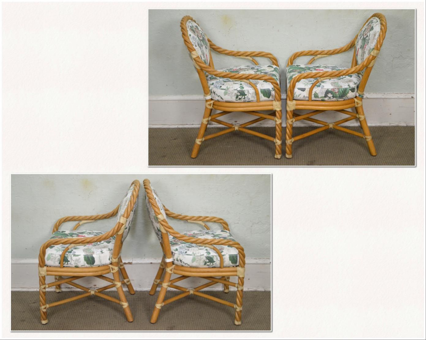 McGuire Of San Francisco Twisted Rattan Dining Chairs   Set Of 4   Image 3  Of