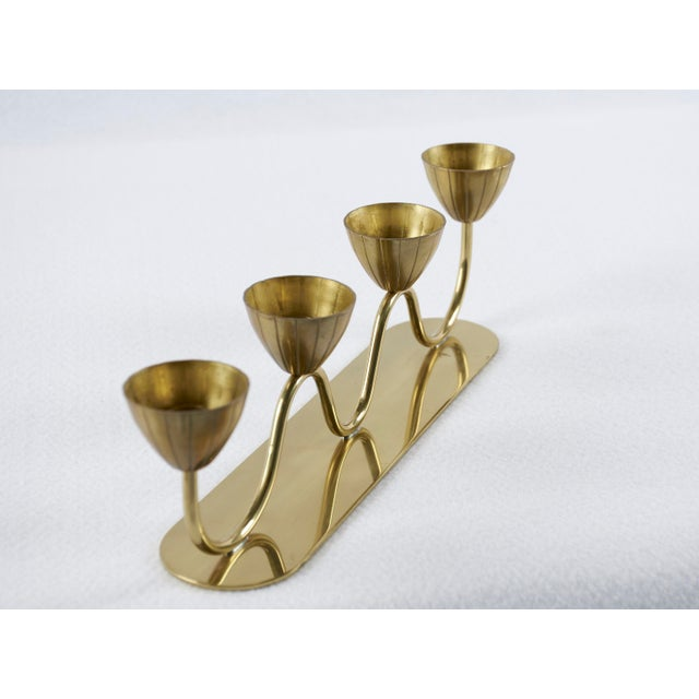 Mid-Century Modern Vintage Gunnar Ander for Ystad Metall Swedish Modern Candelabra, 1950's For Sale - Image 3 of 9
