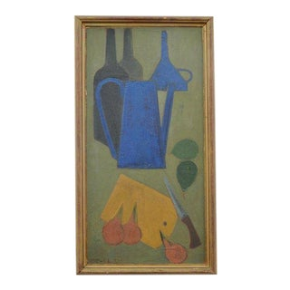 """Still Life With Bottles and Fruit"" Painting by John Sparre Christensen For Sale"