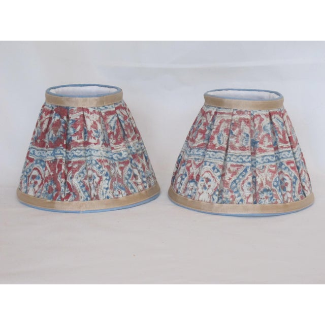 Hand made paisley lampshades a pair chairish boho chic hand made paisley lampshades a pair for sale image 3 of 3 aloadofball Choice Image
