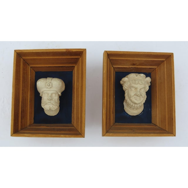 Pair of vintage Czhecoslovakian miniature framed plaster busts.