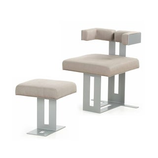 Modern Steel Upholstered Lounge Chair & Ottoman For Sale