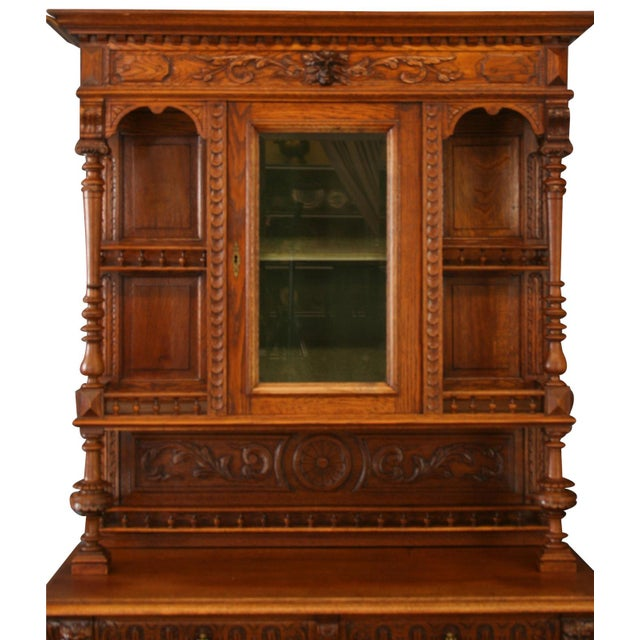 Antique Renaissance Buffet from Belgium. Overall Condition is Used - Good. Shows normal wear to the finish and...
